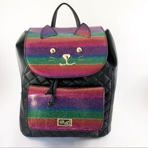 NWT Rainbow Cat backpack by Betsy Johnson